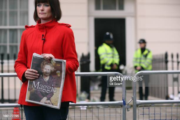 Members of the media report from outside Baroness Thatcher's residence in Chester Square on April 9 2013 in London England Lord Bell spokesperson for...