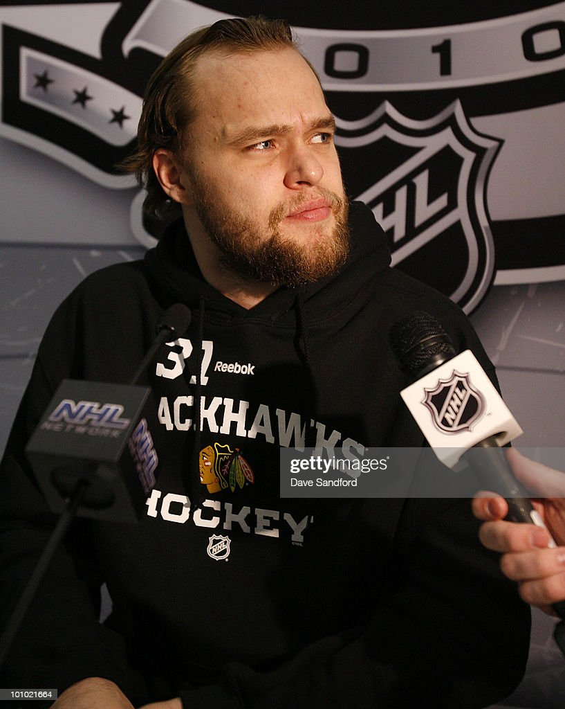 Members of the media speak with Antti Niemi #31 of the Chicago Blackhawks during the Pre-Series Player Media Availability held at the United Center on May 27, 2010 in Chicago, Illinois.