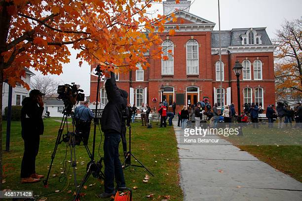 Members of the media stand in the front of the court house after Eric Frein makes first court appearance on October 31 2014 in Milford Pennsylvania...