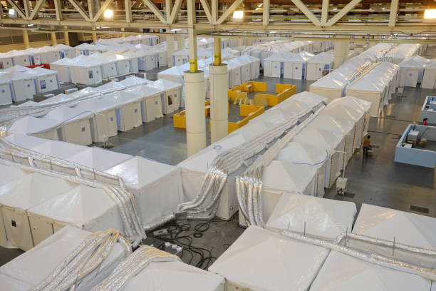 LA: Medical Monitoring Station For Coronavirus Patients Set Up At Morial Convention Center