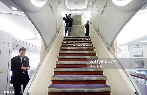 Members of the media tour the new doubledecker Lufthansa Airbus A380 after it arrived at JFK International Airport following its first routeproving...