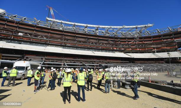 Members of the media tour the new Los Angeles Stadium at Hollywood Park on Tuesday September 18 2018 in Inglewood California When completed in the...