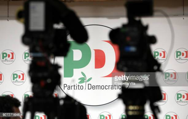 Members of the media wait for a press conference at the Democratic Party headquarters on March 5 2018 in Rome Italy The economy and immigration are...