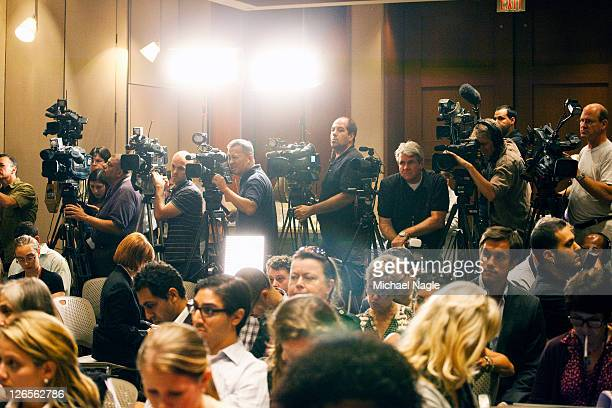 Members of the media wait for Josh Fattal and Shane Bauer two American hikers released after spending more than two years imprisoned in Iran to speak...