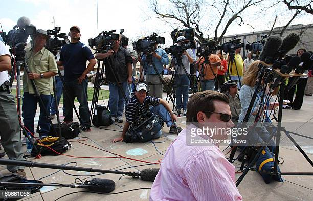 Members of the media wait for members of the Fundamentalist Church of Jesus Christ of Latter Day Saints to arrive at the Tom Green County Courthouse...