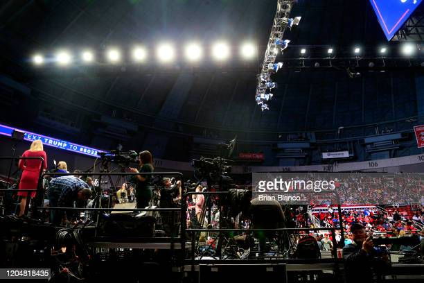 Members of the media wait on the riser ahead of a rally by U.S. President Donald Trump on March 2, 2020 in Charlotte, North Carolina. Trump was...