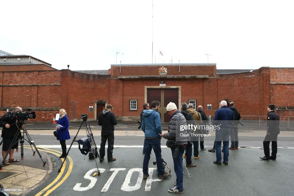 Members of the media wait outside Stafford Prison on the day that entertainer Rolf Harris was released on May 19, 2017 in Stafford, England. The 87 year old is due to appear at Southwark Crown Court on Monday where he is being tried on four counts of indecent assault.