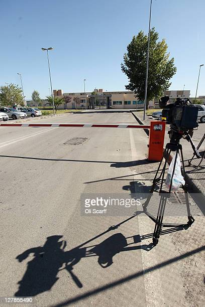 Members of the media wait outside the 'Casa Circondariale di Perugia' prison which currently holds Amanda Knox on October 02 2011 in Perugia Italy...