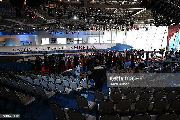 Members of the media walk through the stage set up before the start of the CNN Republican Presidential Debate at the Ronald Reagan Presidential...