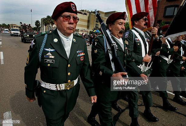 Members of the Members of the Army's 82nd Airborne Division march in a Veterans Day Parade in Downtown San Diego.