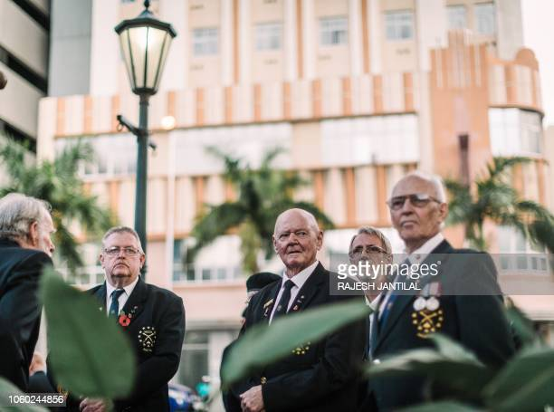 Members of the Memorable Order Of the Tin Hat attend a Sunset Parade in Durban on November 11 2018 as part of commemorations marking the 100th...