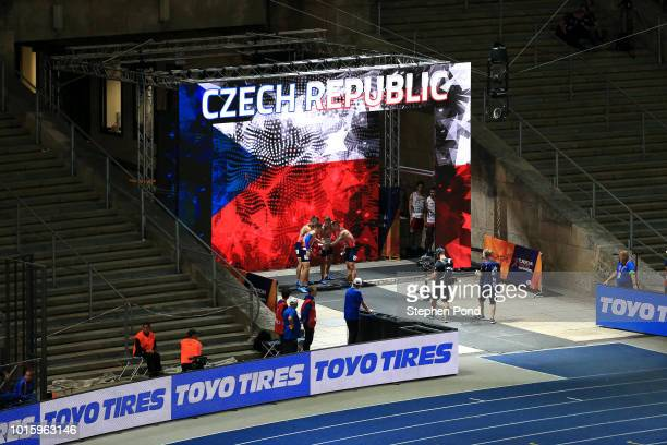 Members of the Men's 4x100m Relay team of Czech Republic are announced during day six of the 24th European Athletics Championships at Olympiastadion...