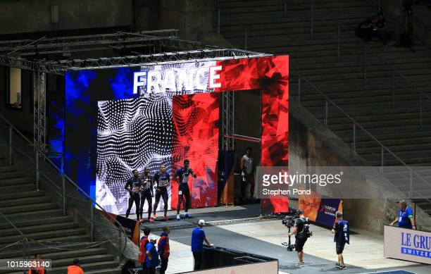 Members of the Men's 4x100m Relay team of France are announced during day six of the 24th European Athletics Championships at Olympiastadion on...