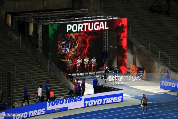 Members of the Men's 4x100m Relay team of Portugal are announced during day six of the 24th European Athletics Championships at Olympiastadion on...