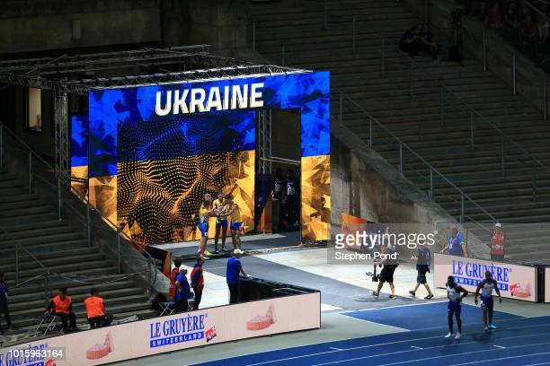 Members of the Men's 4x100m Relay team of Ukraine are announced during day six of the 24th European Athletics Championships at Olympiastadion on...
