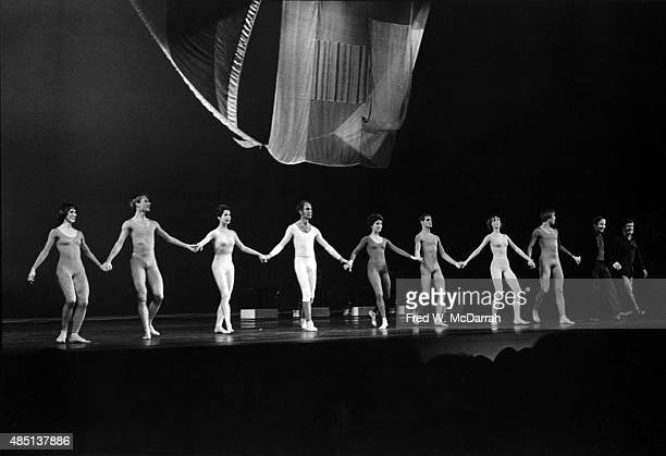 MemberS of the Merce Cunningham Dance Company perform 'Travelogue' at the Minskoff Theatre New York New York January 17 1977 The piece includes set...