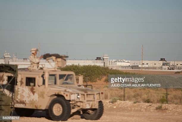 Members of the Mexican Army guard the access to the Federal Centre of Social Readaptation 9 where prisoner Joaquin Guzman Loera aka El Chapo is...