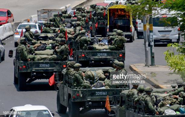 Members of the Mexican army patrol the streets of Acapulco Guerrero State during the beginning of the school year in Mexico on August 20 2018