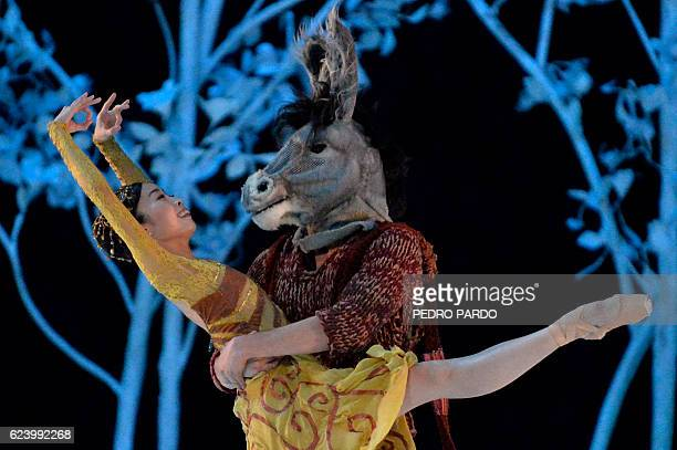 Members of the Mexican National Dance Company perform William Shakespeare's 'A Midsummer Night's Dream' at the Fine Arts Palace in Mexico City on...