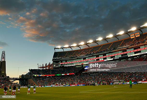 Members of the Mexican national team warm up prior to the international friendly match against Portugal at Gillette Stadium on June 6 2014 in Foxboro...