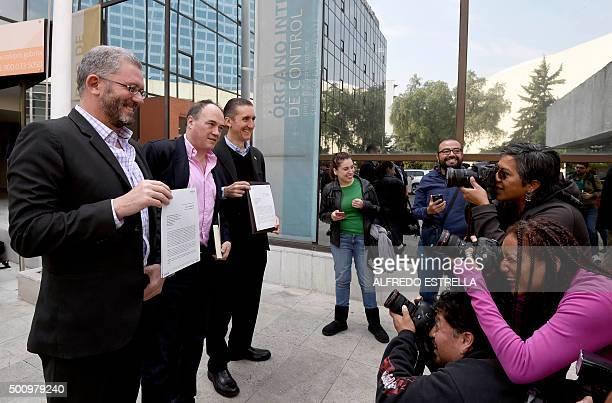 Members of the Mexican Society of Responsible and Tolerant SelfConsumption Pablo Girault Armando Santacruz and Juan Francisco Torres Landa pose for...