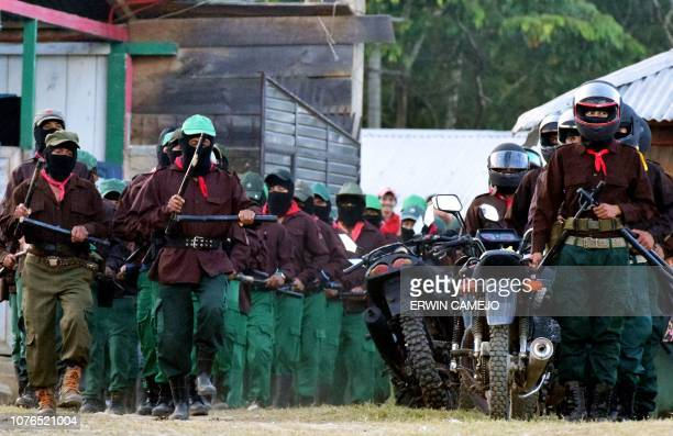 Members of the Mexican Zapatista Army of National Liberation take part in the celebration of their 25th Anniversary in Las Margaritas Chiapas Mexico...