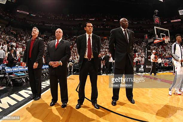 Members of the Miami Heat coaching staff look on against the Charlotte Bobcats during Game Two of the Eastern Conference Finals of the 2014 NBA...
