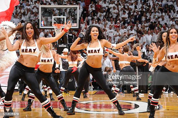 Members of the Miami Heat Dancers preform during Game Six of the 2013 NBA Finals between the Miami Heat and the San Antonio Spurs on June 18 2013 at...