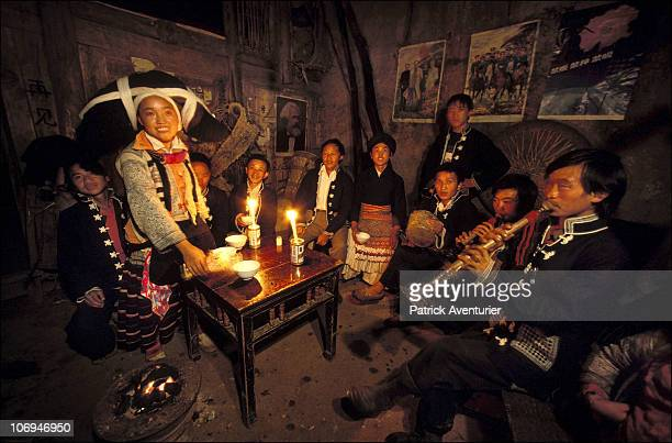 Members of the Miao ethnic minority group enjoy festivities in their village September 1993 in Guizhou Province China The Miao are a linguistically...