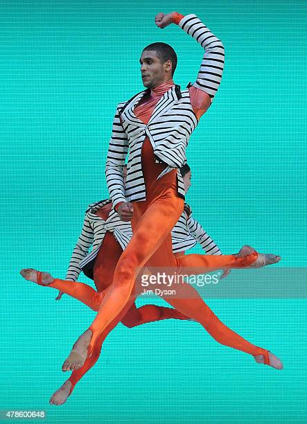 Members of the Michael Clark Ballet Company perform live on the Pyramid stage at the Glastonbury Festival at Worthy Farm, Pilton on June 26, 2015 in...