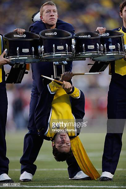 Members of the Michigan drum line perform during game between the Rutgers Scarlet Knights and the Michigan Wolverines on November 7, 2015 at Michigan...