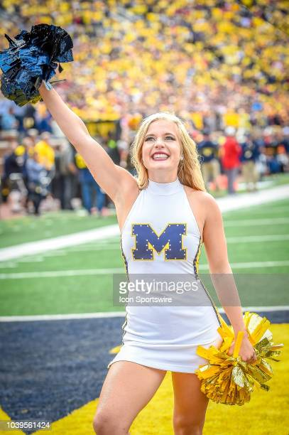 Members of the Michigan Wolverines dance team perform prior to the Michigan Wolverines versus Nebraska Cornhuskers game on Saturday September 22 2018...