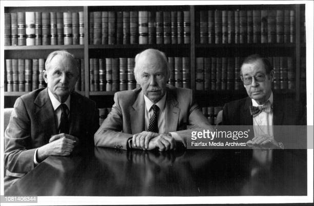 Members of the MiklouhuMaclay Society of Australia President Ray Sheridan Ken Maclay and professor Peter Lawrence October 26 1984