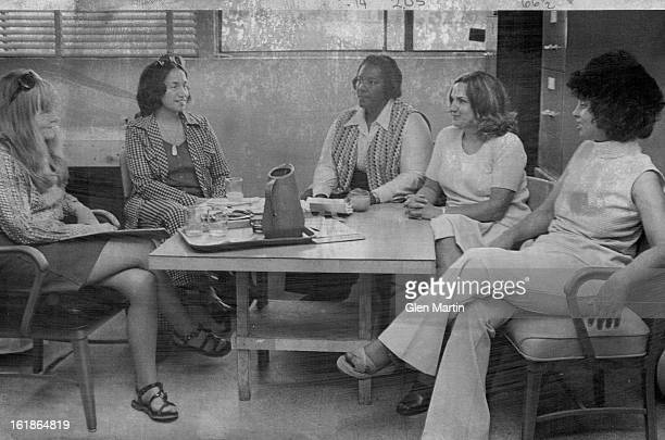 JUN 12 1974 JUN 14 1974 Members Of The Mile High Child Care Association Discuss Their Programs From left are Jan Edlund Anna Jo Haynes Regina Lewis...