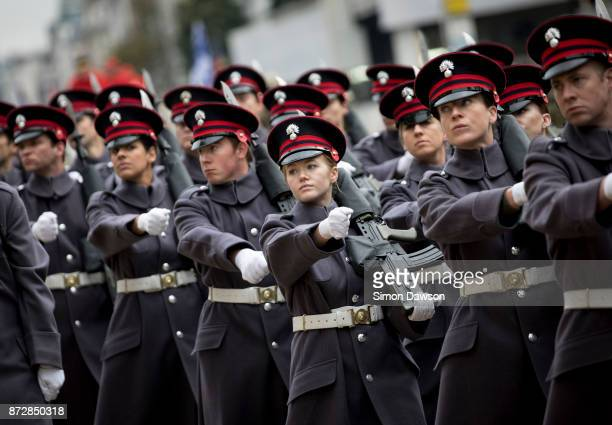Members of the military parade take part in the Lord Mayor's Show on November 11 2017 in London England The Lord Mayor's Show now in its 802nd year...