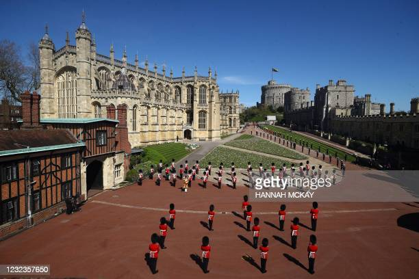 Members of the military stands outside St George's Chapel before the funeral service of Britain's Prince Philip, Duke of Edinburgh in Windsor Castle...