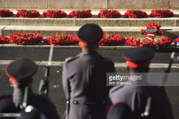 Members of the military take part in the Remembrance Sunday ceremony at the Cenotaph on Whitehall in central London on November 11 2018 On the 100th...