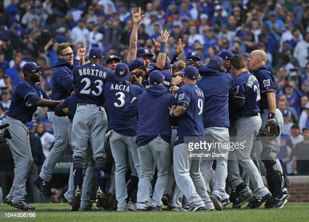 Members of the Milwaukee brewers celebrate after beating the Chicago Cubs in the National League Tiebreaker Game at Wrigley Field on October 1 2018...