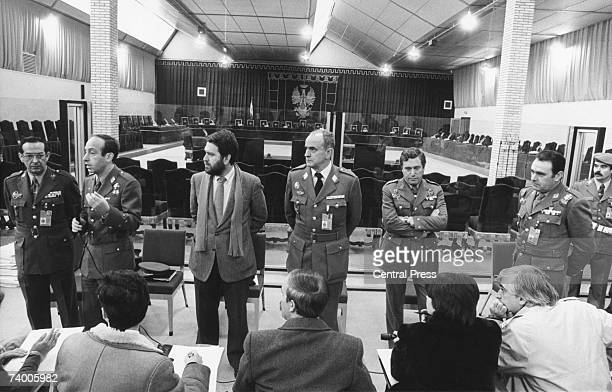 Members of the Ministry of Defence press office hold a press conference at the Madrid court room where, a few days later, the army officers...