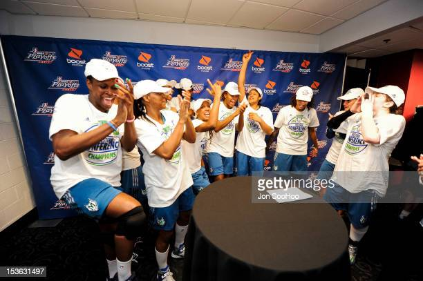 Members of the Minnesota Lynx celebrate after winning the WNBA Western Conference Finals against the Los Angeles Sparks at Staples Center on October...