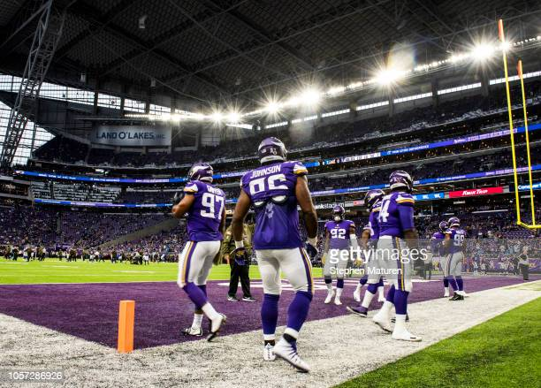 Members of the Minnesota Vikings defense warm up before the game against the Detroit Lions at US Bank Stadium on November 4 2018 in Minneapolis...