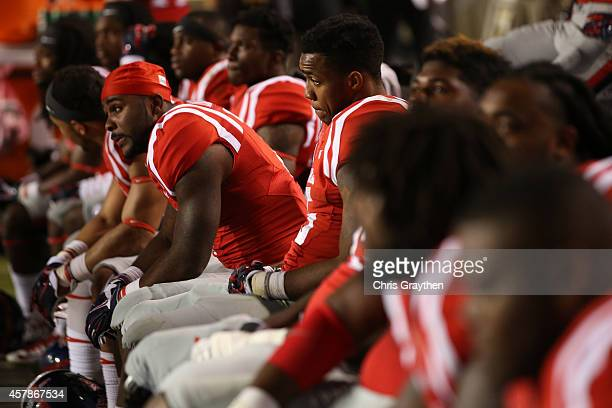 Members of the Mississippi Rebels watch the last few minutes of a 10-7 loss to LSU Tigers at Tiger Stadium on October 25, 2014 in Baton Rouge,...