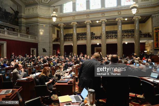 Members of the Missouri House of Representatives work on the House floor on May 17 2019 in Jefferson City Missouri Tension and protest arose after...