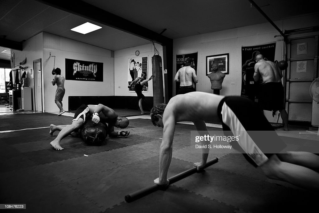 Members of the MMA team Ronin Fight Club do interval training under instructor Rodney Hitchcock at Hitchcock Martial Arts in Waldron, Arkansas on August 11, 2010. Though the small school is in a relatively remote town, it has produced several fighters who have been successful on a regional level.