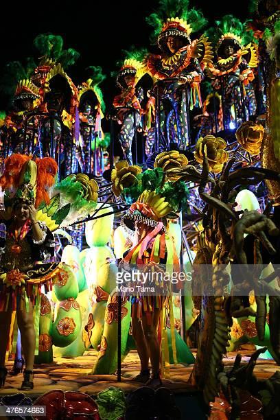 Members of the Mocidade samba school perform during its parade at 2014 Brazilian Carnival at Sapucai Sambadrome on March 03 2014 in Rio de Janeiro...