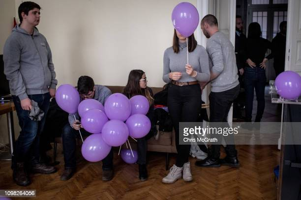Members of the Momentum Party prepare at their offices ahead of joining an antigovernment protest on January 19 2019 in Budapest Hungary Momentum...