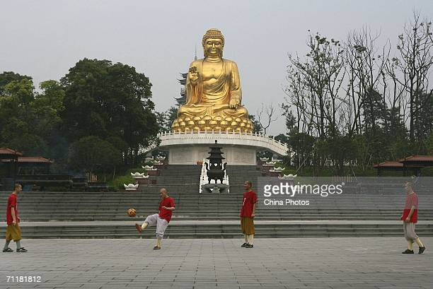 Members of the monk football team of Chongqing Buddhist School train at the Huayan Temple on June 11 2006 in Chongqing Municipality China The...