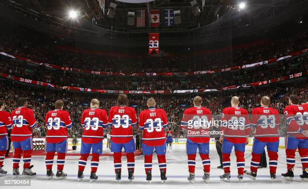 Members of the Montreal Canadiens all wear to honour Patrick Roy during a ceremony to retire his before the Boston Bruins face the Montreal Canadiens...