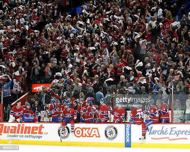 Members of the Montreal Canadiens and fans celebrate the third period goal from Tomas Plekanec in Game Six of the Eastern Conference Quarterfinals...