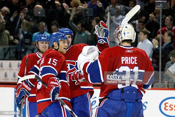 Members of the Montreal Canadiens celebrate their overtime victory over the Phoenix Coyotes with Carey Price during the NHL game at the Bell Centre...